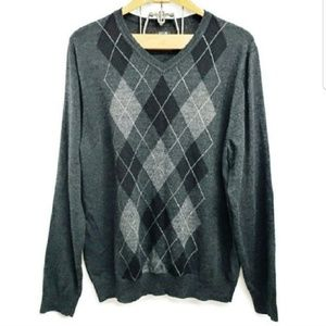 APT 9 Men's Merino Wool Argyle V-Neck Sweater XXL
